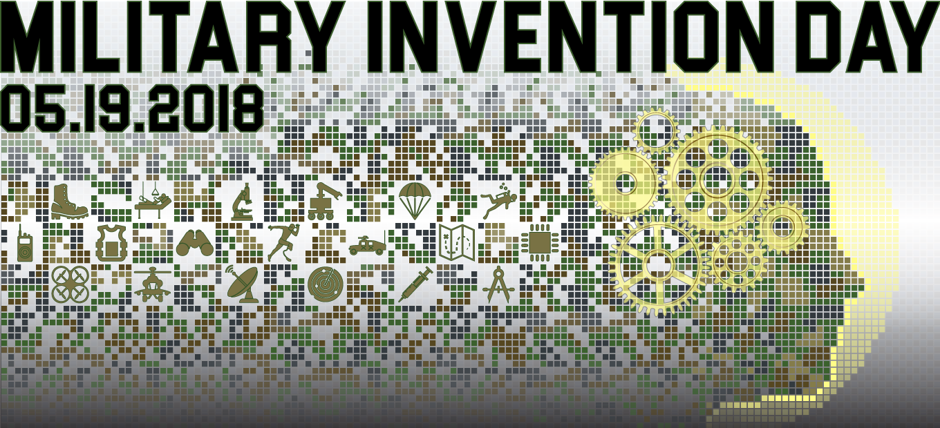 Military Invention Day 2018 banner logo; : a pixelated head in profile surrounded by icons representing inventions, with the caption Military Invention Day 05.19.2018.