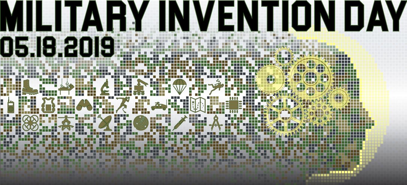 Military Invention Day 2019 banner logo; : a pixelated head in profile surrounded by icons representing a variety of medical, communications,  weaponry, materials, and other inventions, with the caption Military Invention Day 05.18.2019.