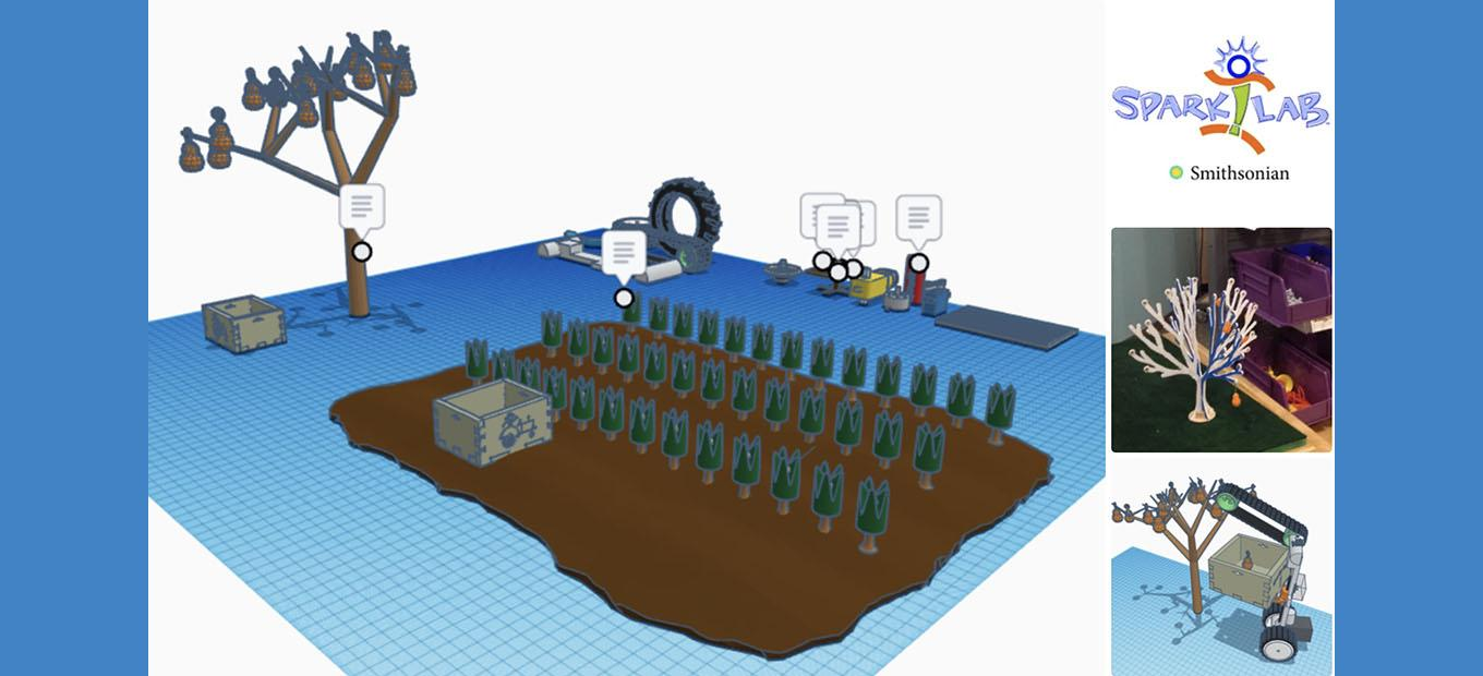 Computer-generated model of a farm field and tree-picking machine
