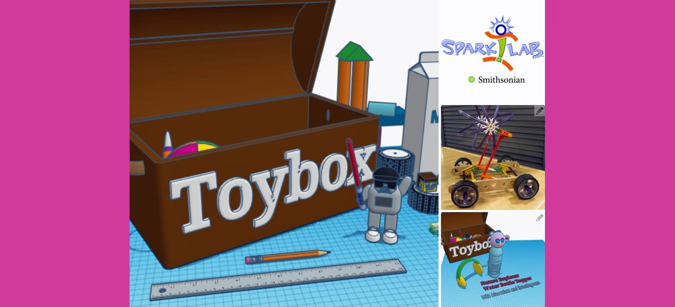 Collage of computer-generated and physical parts to invent a toy