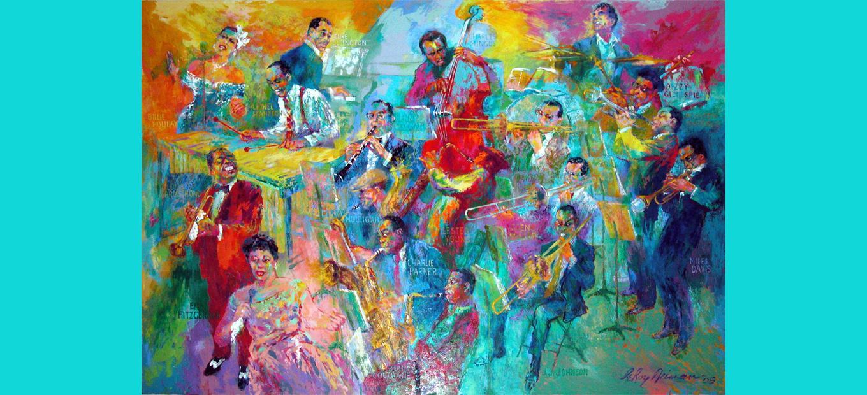 LeRoy Neiman painting Big Band 2004