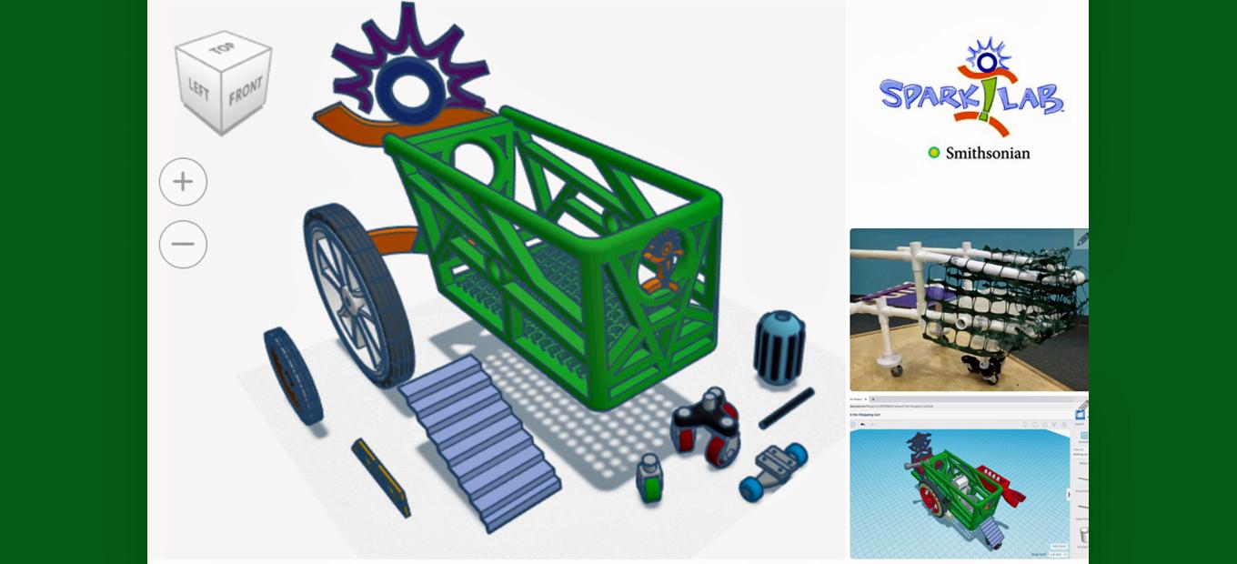 Collage of computer-generated and plastic reinvented shopping carts