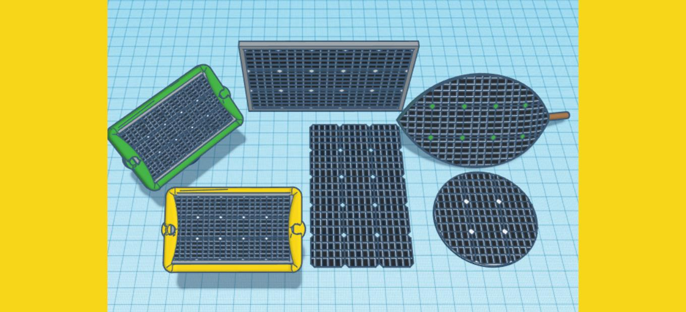 Computer-generated drawings of small solar panels in different shapes