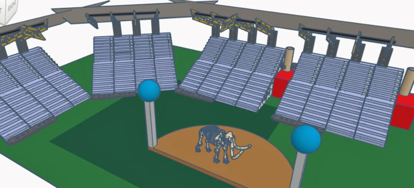 Tinkercad computer graphic rendering of a stadium with a woolly mammoth on the playing field