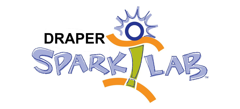 Logo for Draper SparkLab, including Sparky figure and words Draper SparkLab