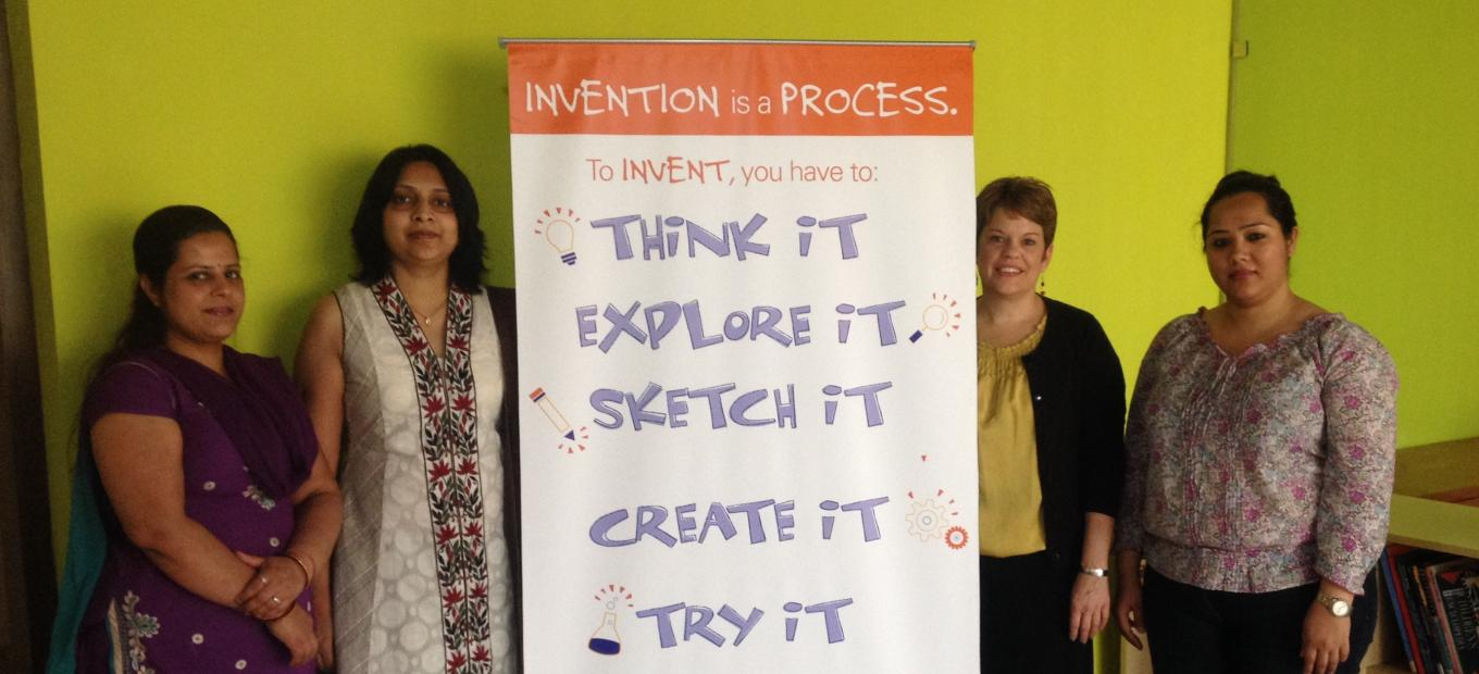 Spark!Lab India team members with educator Tricia Edwards.