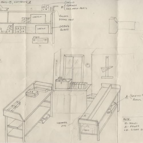 Sketch of Sol Adler's workshop