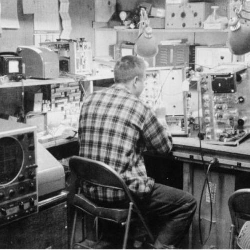 Earl Bakken working inside the Medtronic Garage, c 1955.