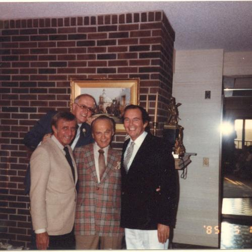 1985 photo of four cardiac pioneers who trained or worked in Medical Alley (left to right): Dr. Nazih Zudhi, Manny Villafaña, Dr. C. Walton Lillehei, and Dr. Christiaan Barnard.