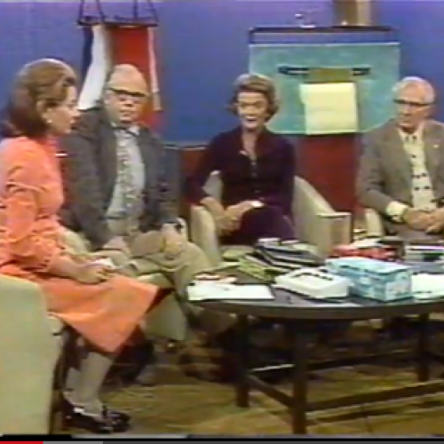 Barbara Walters interviews inventors Jacob Rabinow and Marion O'Brien Donovan in 1975.