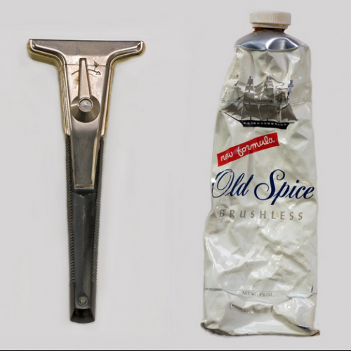 Razor and shaving cream carried aboard the Apollo 11 mission by astronaut Michael Collins.