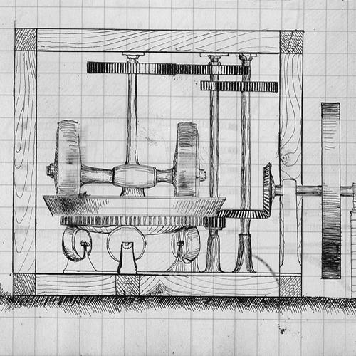 4 detailed ink drawings on facing pages of a gridded notebook. Left: 3 drawings are labeled Old Style Intermittent Kiln, Fort Warren Mortar Mill, and Steam Mortar Mill Used at Fort Taylor by Brevet-major J. Sanders. Right: Hoffmans Annular Kiln.