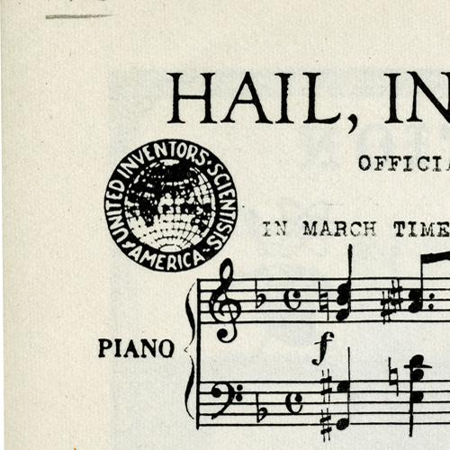 Detail of sheet music for Hail, Inventors and Scientists, 1963, showing logo of United Inventors and Scientists of America