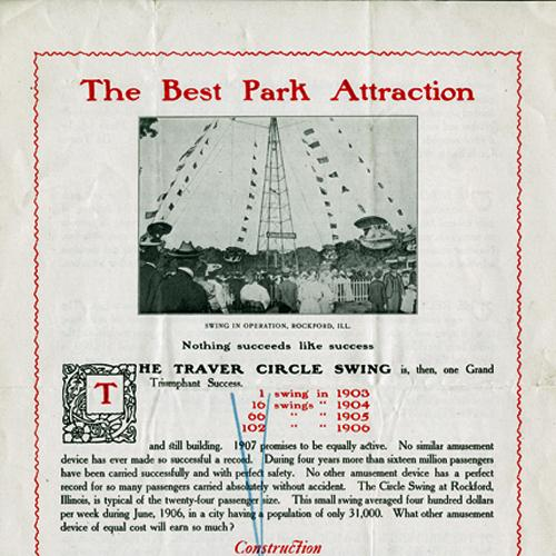 "Detail of Print ad for the Traver Circle Swing, ""The Best Park Attraction,"" includes a photo of the swing tower in operation in Rockford, Illinois."