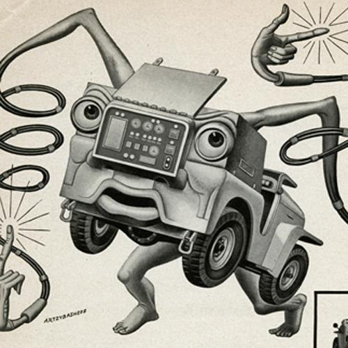 Cartoon-style drawing of a Jeep with legs, arms, eyes, and a mouth