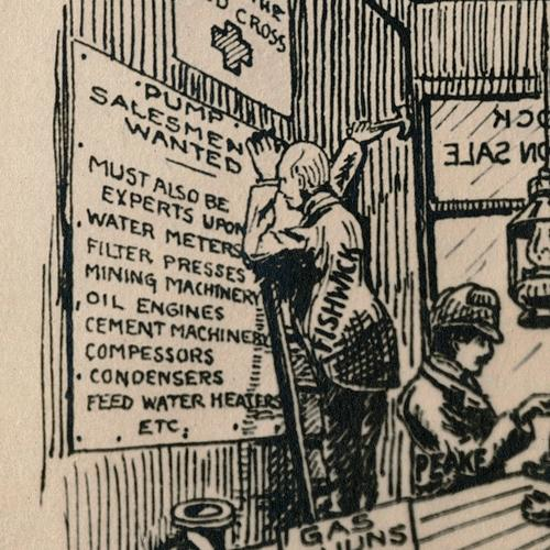 "Detail of cartoon drawing of men sitting around an old-time general store. One man is nailing up a sign that reads, in part, ""Pump Salesmen Wanted. Must be experts upon water meters, filters, . . . engines . . . compressors . . . etc."""