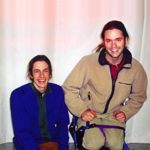 Photo of Matt Capozzi and Nathan Connelly with a prototype accessible snowboard
