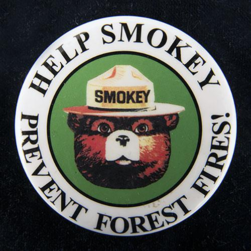 """Metal button with image of Smokey the Bear's head and the words """"Help Smokey Prevent Forest Fires"""" around the outer edge"""