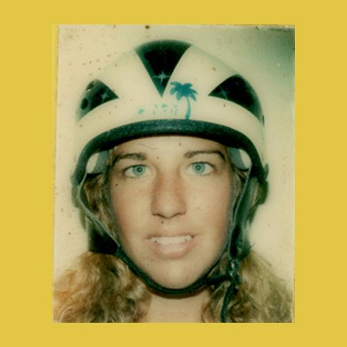 Head shot of Cindy Whitehead, wearing a skate helmet, from her identification card for Marina Del Rey Skatepark