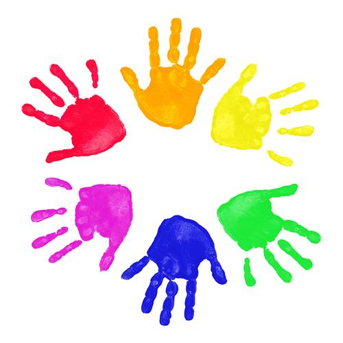 Brightly colored simple drawings of hands in s cricle