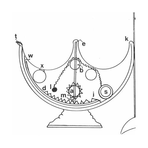 Line drawing of inner workings of a lamp with a perpetual wick.
