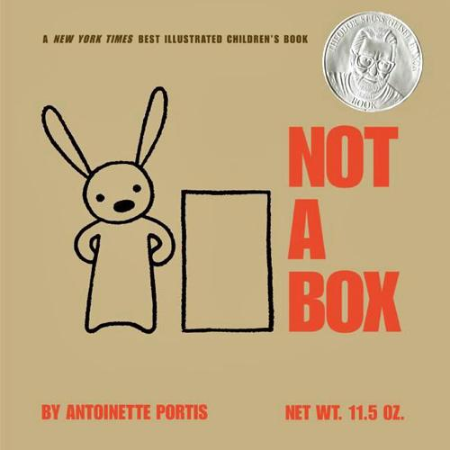 Cover for book Not a Box showing a line drawing of a rabbit standing next to a box