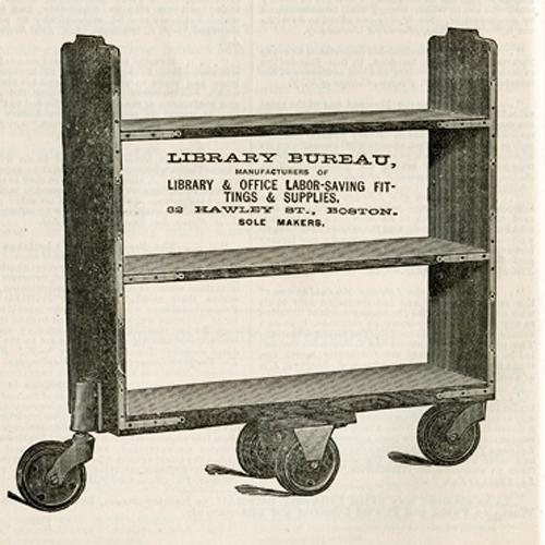 Line illustration of a Library Bureau book cart