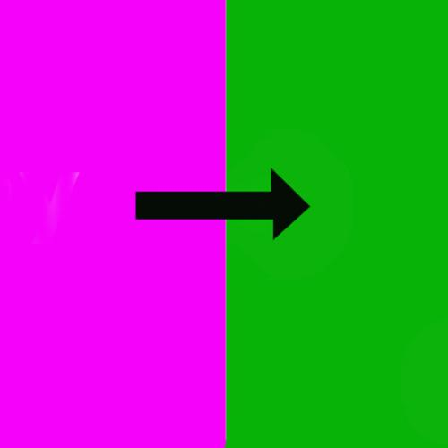 A pink square on the left and a green square on the right with a black arrow connecting the boxes and pointing from left to right.