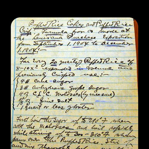 A handwritten recipe for puffed rice cakes and crisps, by Alexander Anderson, 1904