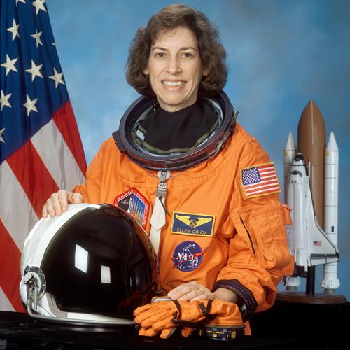 Official portrait of NASA astronaut Ellen Ochoa in her flight suit, 12 February 2002