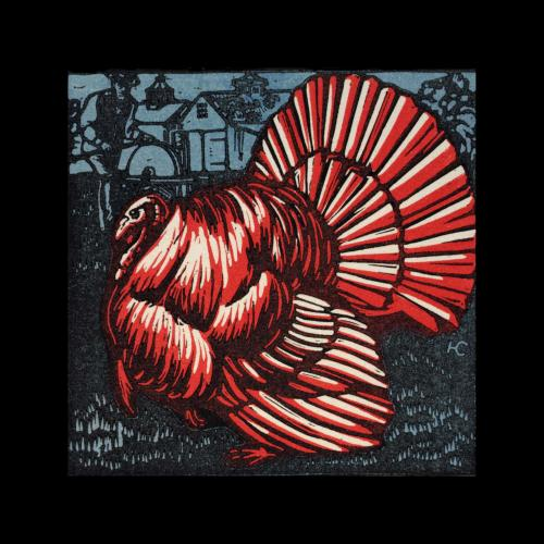 Color woodcut of a turkey in profile, with a farmer sharpening his knife in the background