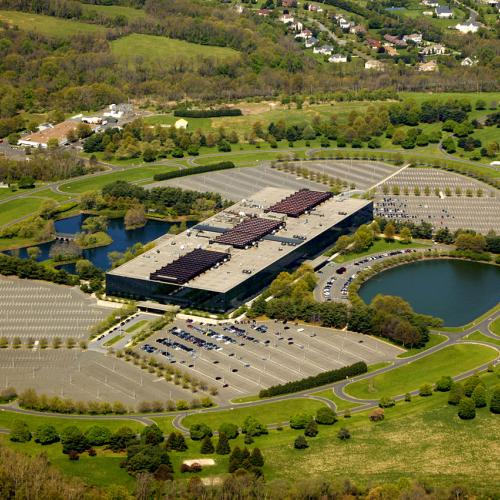 Aerial photo of AT&T's sprawling 472-acre campus for Bell Labs in suburban Holmdel, NJ.