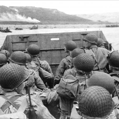 Troops approaching Omaha Beach in an LCVP on June 6, 1944. National Archives Image.