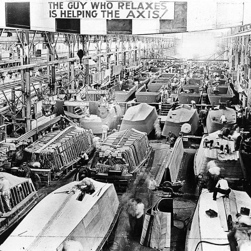 Higgins Industries shop floor. Courtesy of The National WWII Museum