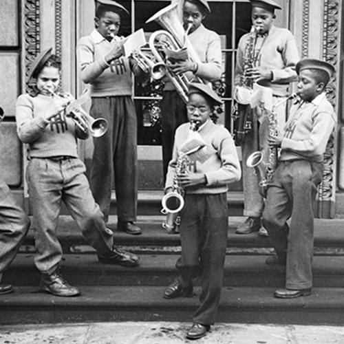 "Boys, possibly from Herron Hill School, playing brass instruments on steps, circa 1938-€""1945. - See more at: http://blog.invention.smithsonian.org/2013/04/04/innovating-jazz-the-pittsburgh-sound/#sthash.bObbx9Ss.dpuf"