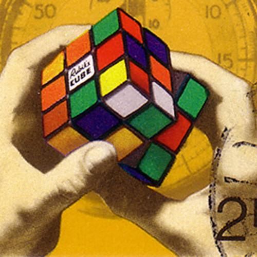 Hungarian stamp honoring the invention of the Rubik's cube. Features image of hands manipulating the toy with a stopwatch in the background.