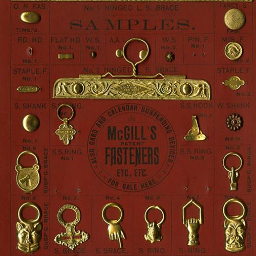 Sample card for McGill's patent fasteners