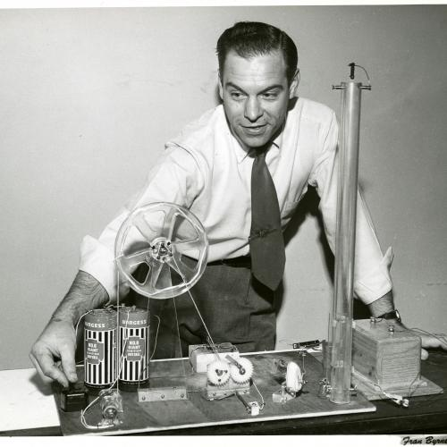 Mr. Wizard with experiment, circa 1950s. (AC1326-0000039)