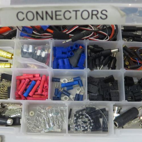 A box of various connectors 3D printed by Spark!Lab's Tim Pula