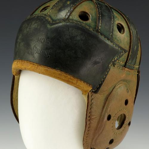 A leather helmet worn by Gerald Ford while playing football for Michigan in the 1930's. From Wikimedia Commons.