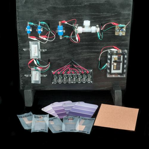 Prototypes of several batteries invented by Amy Prieto are displayed on a vertical black wooden board