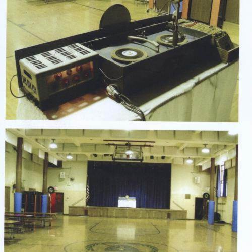 DJ set up in a school gymnasium