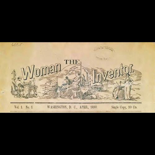 Masthead illustration for The Woman Inventor, 1890, depicting women at work in drafting, agriculture, and industry