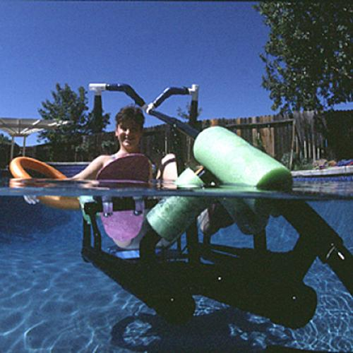 Inventor Krysta Morlan uses her Waterbike in the pool