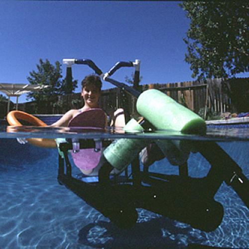 Inventor Krysta Morlan uses her Waterbike in the pool