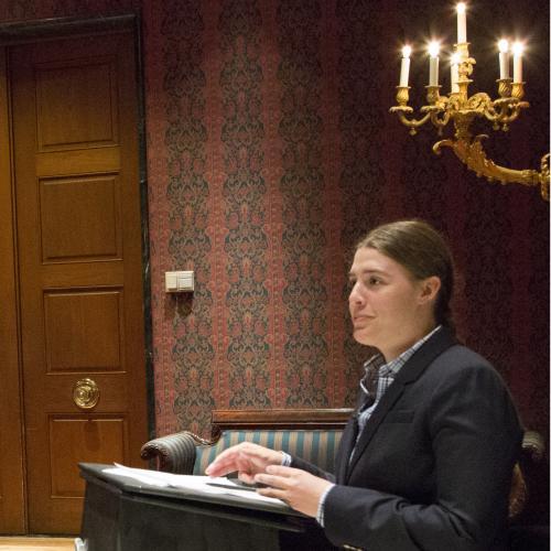 Fellow Rachel Gross presents her research during a museum colloquium