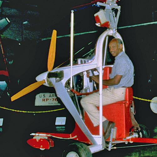 David Gittens in his Ikenga gyroplane
