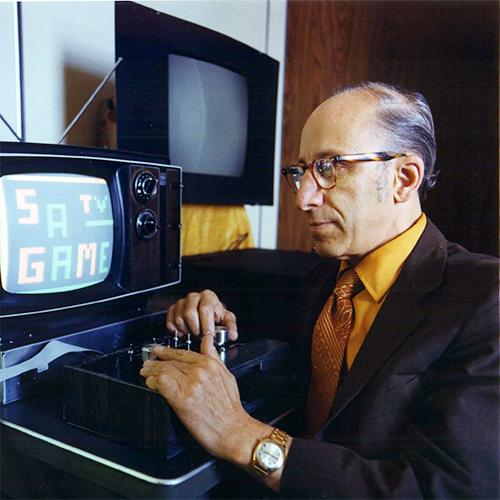 Ralph Baer playing his Telesketch game, 1977