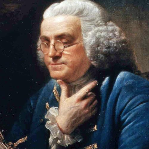 Portrait painting of Benjamin Franklin in profile, seated at desk, reading a book, 1767, by David Martin (1737-1797)