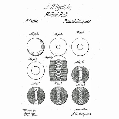 9 figures from US Patent 50,359, awarded to John Wesley Hyatt, Jr., in 1865. Figures 1 through 7 and 9 are circular, detailing different parts of the composition of the ball. Figure 8 shows the plug that runs through the core of the ball.